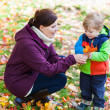 Little toddler boy and young mother in the autumn park — Stock Photo #28418623