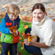 Little toddler boy and young mother in the autumn park — Stock Photo #28419253