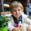 Adorable little boy eating frozen yoghurt ice cream in cafe — 图库照片
