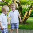 Stock Photo: Two little sibling boys having fun outdoors in family look