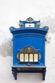 Antique blue wall mailbox on white background — Stockfoto