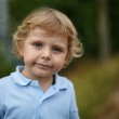 Beautiful little boy walking on a country road — Stock Photo #31064375
