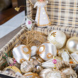 Stock Photo: Ancient white Christmas tree toys in antique suitcase