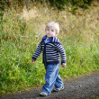 Little blond boy near forest lake, on summer evening — Stock Photo #31985603