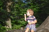 Little cute toddler boy playing with soap bubbles in forest — Stock Photo