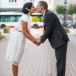 Beautiful indian bride and caucasian groom, after wedding ceremo — Stock Photo #32462579