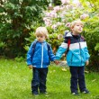 Two little toddler boys going to kindergarten. — Stock Photo