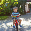 Stock Photo: Little toddler boy riding on his bicycle in summer.