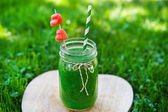 Spinach green smoothie as healthy summer drink. — Foto de Stock