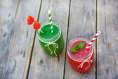 Watermelon and spinach smoothie as healthy summer drink. — Stock Photo
