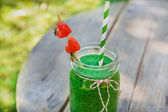 Spinach green smoothie as healthy summer drink. — Stock Photo