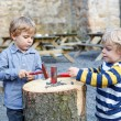 Foto Stock: Two little sibling boys playing with hammer outdoors.