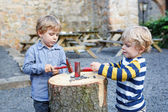 Two little sibling boys playing with hammer outdoors. — Stock Photo