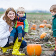 Mother and two little sons having fun on pumpkin patch. — Stock Photo #33926891