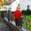 Stock Photo: Two little sibling boys walking on city street.