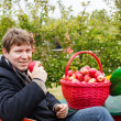Young man eating red apples in an orchard — Stock Photo