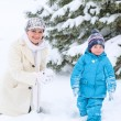 Little preschool boy and his mother playing with first snow in p — Stock Photo #34782737