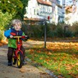 Cute toddler boy of two years riding bike in autumn city park — Stok fotoğraf