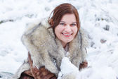 Portrait of beautiful girl with winter and snow background, outd — Stock Photo