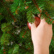 Hand hanging christmas tree toy. — Stock Photo