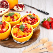 Fruit salad in hollowed-out orange — Stock Photo #35885615