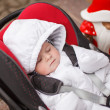 Lovely little baby in car seat — Stock Photo
