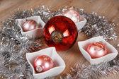 Pink Christmas tree balls decorated — Stock Photo