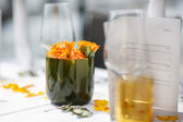 Table set for wedding or another catered event dinner. — Stock Photo