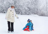Two little siblings and their mother having fun on sledge on win — Stockfoto