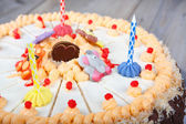 Birthday cake and three candles — Stock Photo