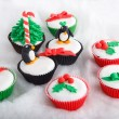 Stock Photo: Christmas cupcake with white fondant frosting