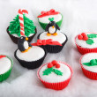 Christmas cupcake with white fondant frosting — Stockfoto #36574589