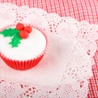 Christmas cupcake with white fondant frosting — стоковое фото #36574617