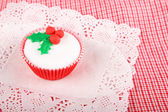 Christmas cupcake with white fondant frosting — Stock Photo