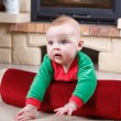 Adorable baby boy with christmas decoration. — Stock Photo