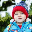 Portrait of little toddler boy two years old in winter — Stock Photo #37231561