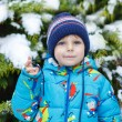 Portrait of little toddler boy three years old in winter — Stock Photo