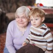Stock Photo: Great-grandmother with toddler and her grandson, indoor