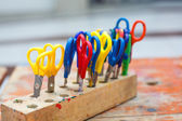 Colorful scissors for children for making art, closeup. — Stock Photo
