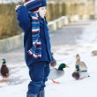 Adorable toddler boy on beautiful winter day — Stock Photo #39679769