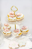 Elegant sweet table with cupcakes and other sweets for dinner or — Stock Photo
