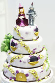 Beautiful Wedding cake decorated with knight and princess for pa — Stock Photo