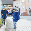Two little sibling boys walking on the street in German village. — Stock Photo #40031157