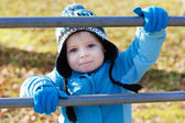 Little toddler boy having fun on playground — Stock Photo