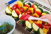 Vegetable skewers with tomato, pepper and zucchini — Stock Photo