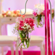 Beautiful flower arrangement in white and pink for wedding or ev — Stock Photo #40503171