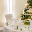 Beautiful table set  for green wedding or event party, indoors, — Stock Photo #42866209