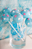 Wedding cake pops in white and soft blue. — Stock Photo