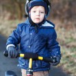 2 years old toddler riding on his first bike  — Stock Photo #43017315