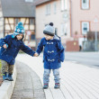 Two little sibling boys walking on the street in German village. — Stock Photo